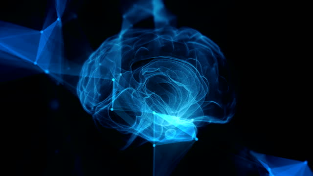 Human brain forming from shapeless mass digital x-ray black background 3D rendering with connections
