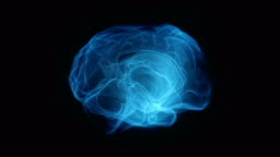 Human brain forming from shapeless mass digital x-ray black background 3D rendering