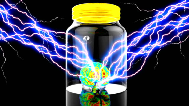 Human brain stimulation in a glass container scientific experiment