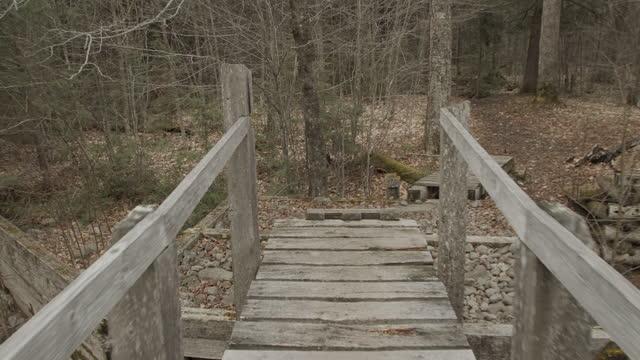 pov人間の交差点川ウォーキングハイキングブリッジ探して日を探して - ウィンターコート点の映像素材/bロール
