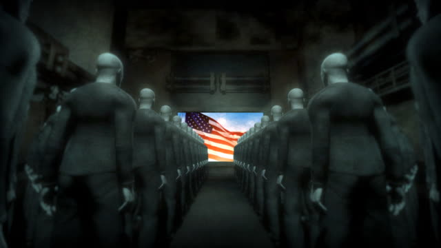 human cyborgs watching screen with usa flag - domination stock videos & royalty-free footage