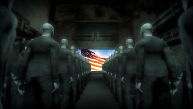 stockvideo's en b-roll-footage met human cyborgs watching screen with usa flag - overheersing