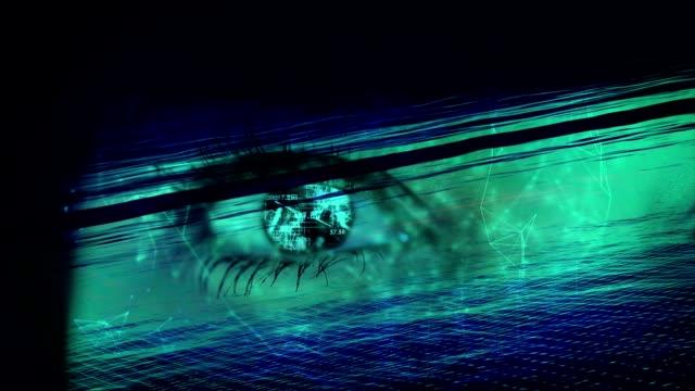 vídeos de stock, filmes e b-roll de olho humano com a galáxia e digital modo de mistura. - espiritualidade