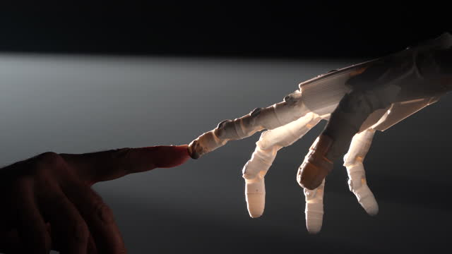 human finger touching robot fingers - human finger stock videos & royalty-free footage