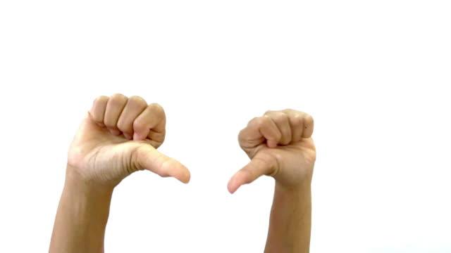 Menschliche Hand und Körpersprache, Hand heben mit schlechtes Zeichen zeigen, Daumen runter