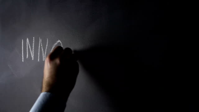 Human hand drawing INNIVATION on blackboard