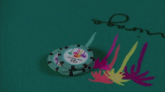 cu pan human hand placing gambling chips on blackjack table / las vegas, nevada, usa - blackjack stock videos and b-roll footage