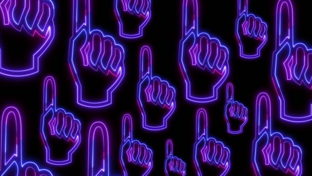 stockvideo's en b-roll-footage met menselijke hand die vinger in neon lichte stijl op donkere achtergrond verticale achtergrond voor instagram richt - human finger