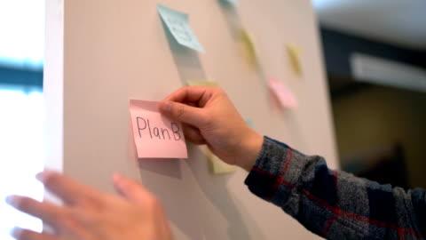 vidéos et rushes de papier de bâton de main humain avec le texte de plan b sur le plan d'affaires de tableau blanc - stratégie