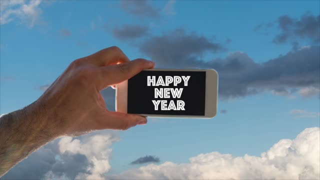 human hand taking photo of sky happy new years - 2019 stock videos and b-roll footage