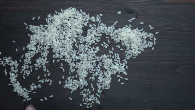 Human Hand Transforming Rice Seeds Into World Map Shape