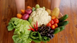 Human hands holding healthy foods vegetables and fruits