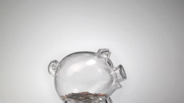 stockvideo's en b-roll-footage met cu t/l human hands inserting coins into piggy bank / brooklyn, new york, usa - investering