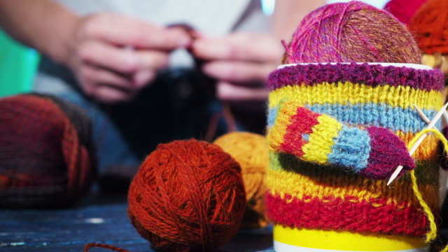 human hands knitting - knitting needle stock videos & royalty-free footage