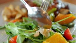Human Hands Take a Salad , healthy food