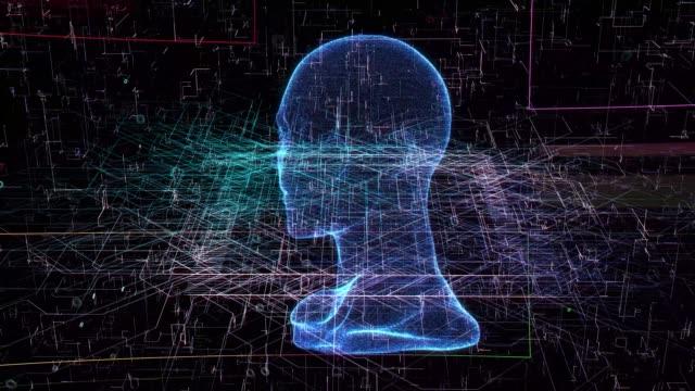 vídeos de stock e filmes b-roll de human head scan - código binário