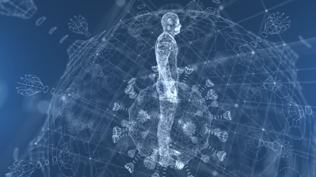 human hologram with virus - cerebral hemisphere stock videos & royalty-free footage