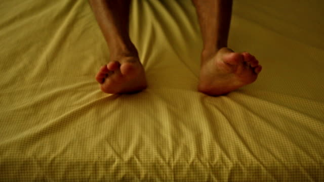 human leg on bed - underwear stock videos & royalty-free footage