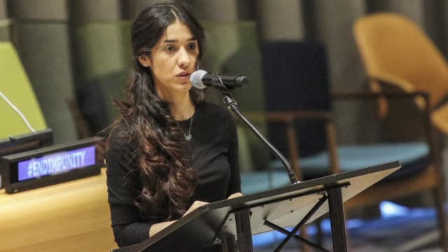 stockvideo's en b-roll-footage met human rights activist and un goodwill ambassador nadia murad who escaped after being kidnapped by is in 2014 wins nobel peace prize 2018 - united nations