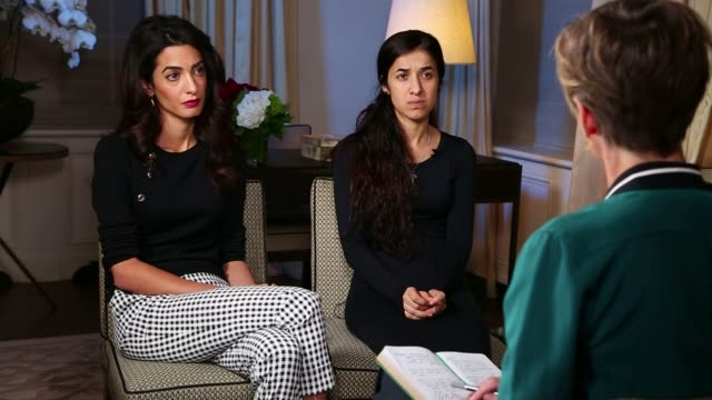 Human rights lawyer Amal Clooney speaks out about Yazidi genocide USA New York INT Nadia Murad and her lawyer Amal Clooney sitting for interview...