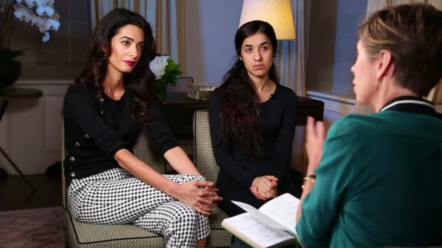 Human rights lawyer Amal Clooney speaks out about Yazidi genocide USA New York Amal Clooney and Murad as reporter asking question SOT