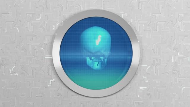 human skull   oscilloscope - oscilloscope stock videos & royalty-free footage