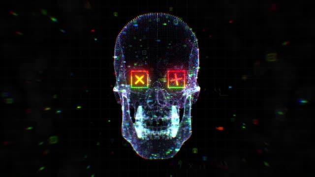 vídeos y material grabado en eventos de stock de cráneo humano vj fondo - videojockey