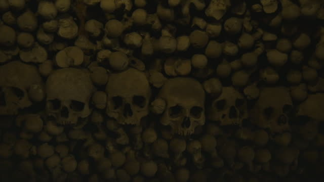 Human Skulls And Bones In An Ossuary