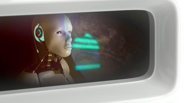 humanoid roboter blick auf erden - intelligenz stock-videos und b-roll-filmmaterial