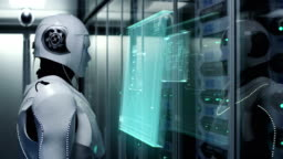 Humanoid robot working in a data center
