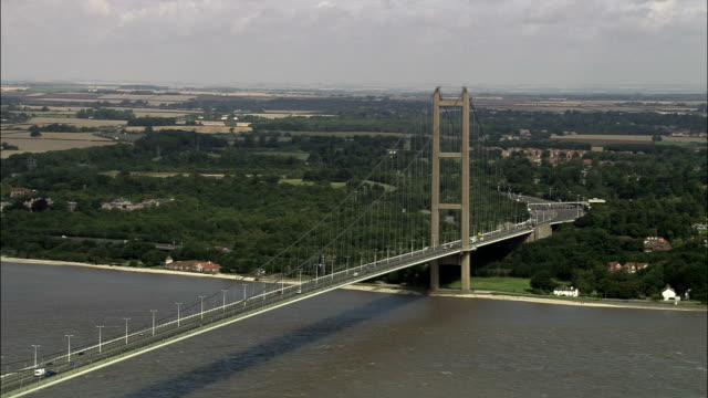 Humber Suspension Bridge  - Aerial View - England, North Lincolnshire, North Killingholme, United Kingdom