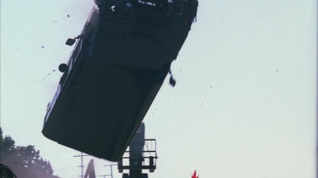ms pan hummer crashing and flying mid air - hummer stock videos & royalty-free footage