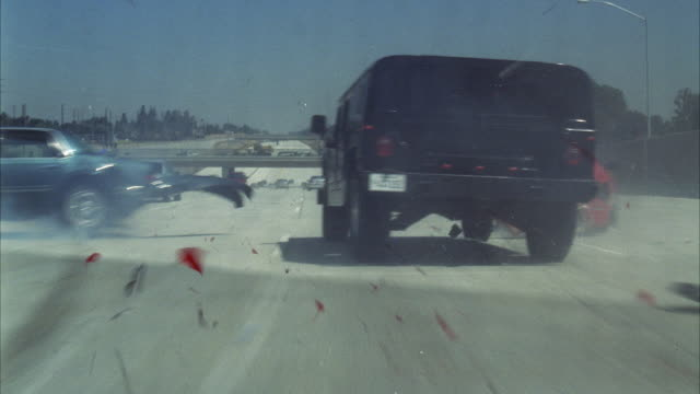 ws pov hummer crashing into cars from behind on road - hummer stock videos & royalty-free footage
