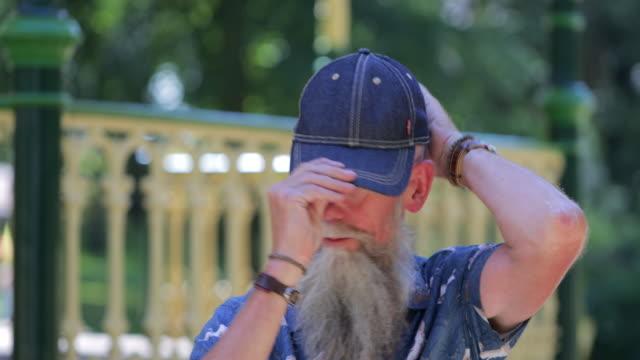 humorous senior man - cap hat stock videos & royalty-free footage