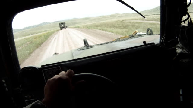 Humvee while driving in a convoy.