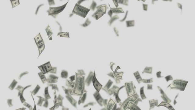 hundred dollar bills are falling on white background in 4k resolution with alpha channel - currency symbol stock videos & royalty-free footage