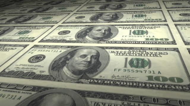 Hundred Dollar Bills loop. HD