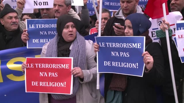 a hundred french muslims gathered friday at the entrance of the grand mosque of lille after prayer to condemn the attack against the french satirical... - grand mosque stock videos and b-roll footage