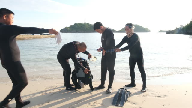 hundred island national park in philippines during covid-19 pandemic in alaminos, ilocos region, philippines, on friday, september 25, 2020. - aqualung diving equipment stock videos & royalty-free footage