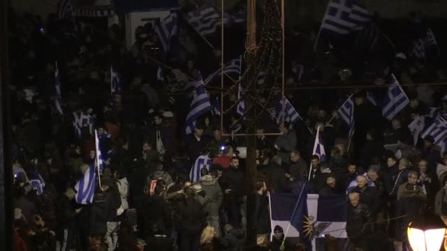 stockvideo's en b-roll-footage met hundreds gather outside of the greek parliament in athens to protest the prespes accord - athene griekenland