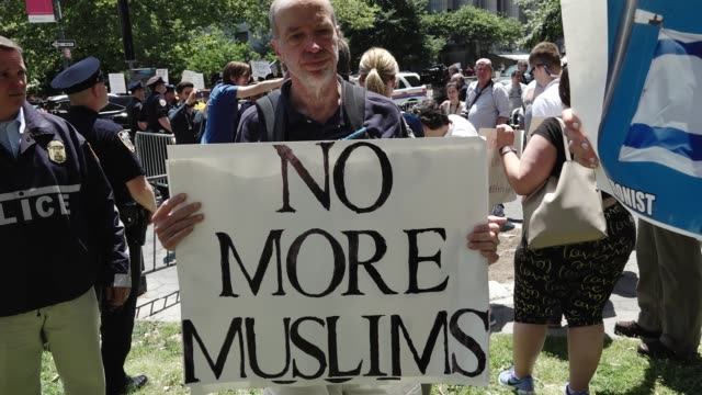 2017 hundreds gathered at foley square park – city hall park to counterprotest an antisharia and antimuslim rally simultaneously being held in the... - banner sign stock videos and b-roll footage