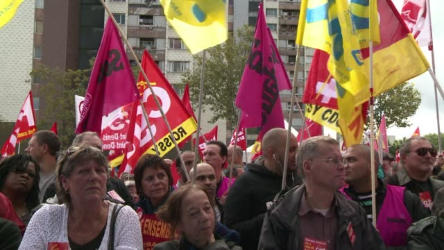 hundreds gathered in the heart of the 3000 person french town aulnay sous bois on saturday to support local workers facing layoffs primarily from psa... - psa stock videos & royalty-free footage