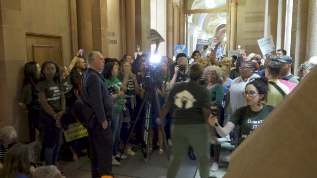 hundreds of activist filled the hall of governors at the new york state capitol building in albany demanding that governor andrew cuomo pass the ccpa... - climate activist stock videos & royalty-free footage