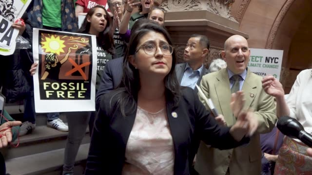 hundreds of activist filled the halls of the new york state capitol building in albany several elected state representatives spoke in support of the... - climate activist stock videos & royalty-free footage