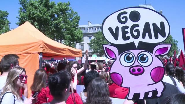 Hundreds of activists protested Sunday in Paris to demand the closing of slaughterhouses and an end to animal massacres