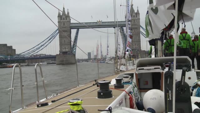 hundreds of amateur sailors from around the world passed under tower bridge sunday at the start of a 40000nautical mile global race between six... - endurance race stock videos and b-roll footage