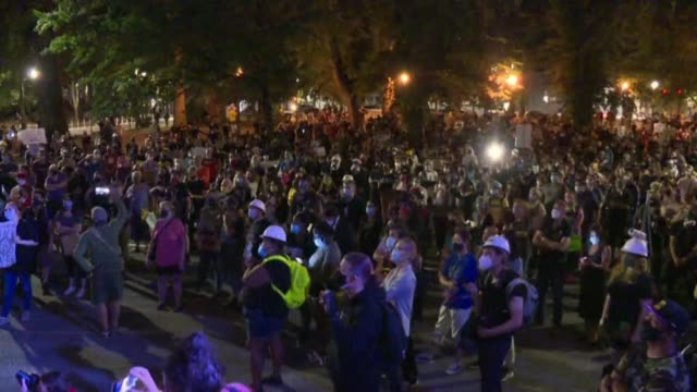 hundreds of anti-racism protesters gather in portland as us president donald trump announced on twitter that us federal officers will stay in the... - portland oregon stock videos & royalty-free footage