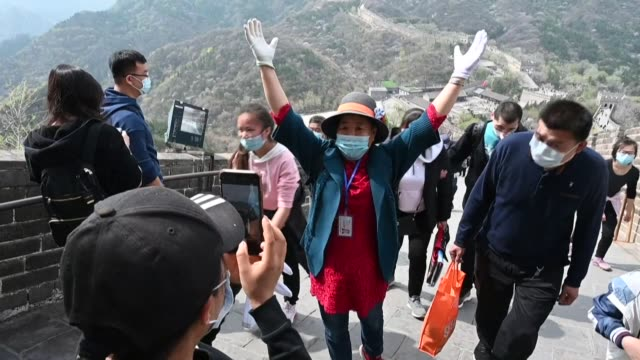 hundreds of beijing residents visit the badaling section of the great wall of china which reopened to visitors on march 24 as life slowly returns to... - great wall of china stock videos & royalty-free footage