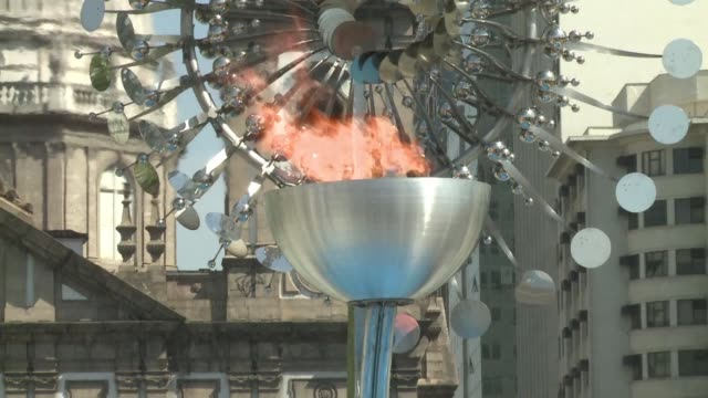 hundreds of brazilians visit the olympic torch in central rio de janeiro - olympic torch stock videos & royalty-free footage