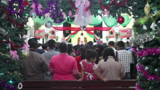 Hundreds of Christians celebrate Christmas in Aceh Indonesia on December 24 2017 Even though Aceh is a region which residents are Muslim majority the...